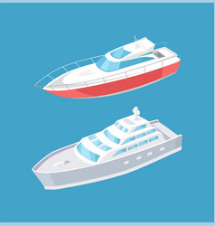 modern yachts sailing in deep blue water steamship vector image