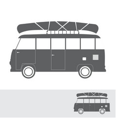 monochrome bus for travel with canoe vector image