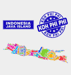 Mosaic technology java island map and scratched vector