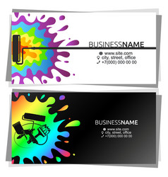 multicolored paint drops business card for painter vector image