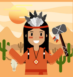 native american people cartoon vector image