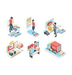online shopping isometric concept icon vector image