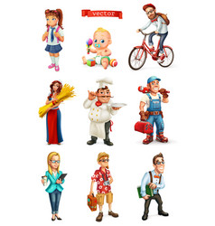 People 3d set cook manager student tourist vector
