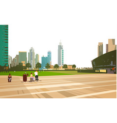 people walking relax stadium arena concept over vector image