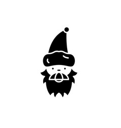 santa claus black icon sign on isolated vector image