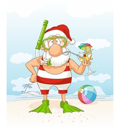 Santa Claus on Summer Holiday Cartoon vector image