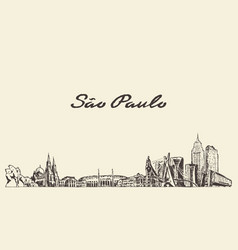 sao paulo skyline brazil city drawn sketch vector image