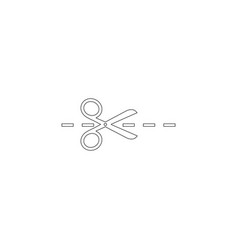 Scissors with cut lines flat icon vector