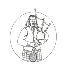 scottish bagpiper doodle art vector image