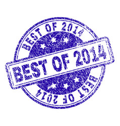 Scratched textured best of 2014 stamp seal vector
