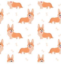 Seamless corgi pattern cartoon home pet set vector