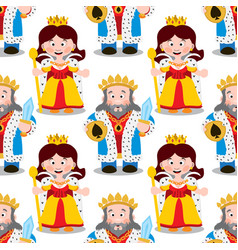 Seamless pattern with cartoon king and queen vector