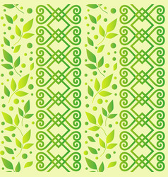 Seamless pattern with ornament leaves and dots in vector