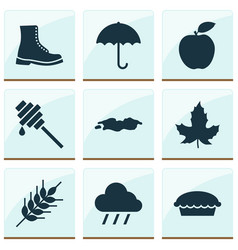 season icons set with fruit puddle apple pie and vector image