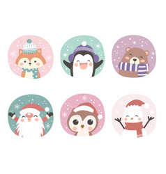 set adorable animals for christmas decoration vector image