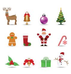 set christmas decoration ornament vector image