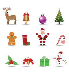 set of christmas decoration ornament vector image