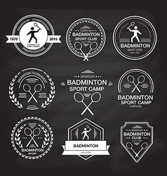 Set of different logotype templates for badminton vector