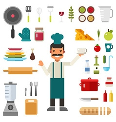 Set of Icons and in Flat Design Style Profession vector image