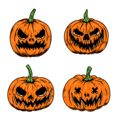 set scary halloween pumpkin design element vector image