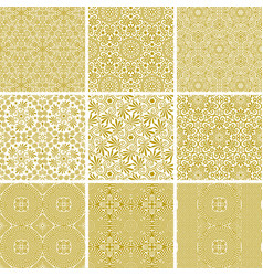 set seamless traditional greek golden patterns vector image