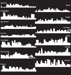 silhouettes usa cities vector image
