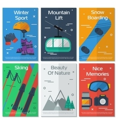 Six vertical banners mounting winter sport vector