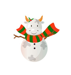 snowman looking like a bull wearind bright scarf vector image