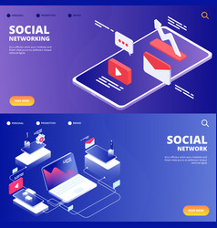 social network and networking landing pages vector image