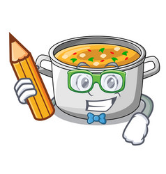 Student with book cartoon chicken soup pot for vector