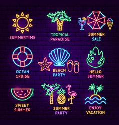 Summer vacation neon label set vector