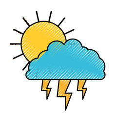 Sun cloud and lightning colored crayon silhouette vector