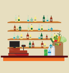supermarket interior with cashier counter vector image