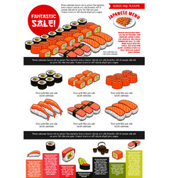 Sushi bar menu template of japanese cuisine vector