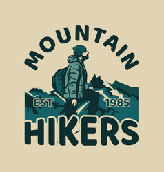 t shirt design mountain hikers with man hiking vector image