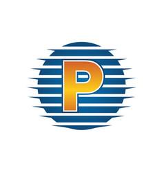 technology letter p vector image