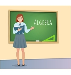 Teen pupil standing at blackboard vector