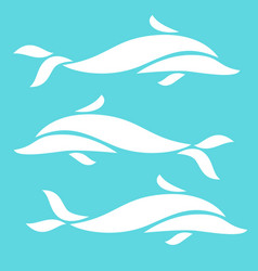 Three white dolphin compositions set on blue vector