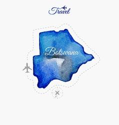 Travel around the world Botswana Watercolor map vector image