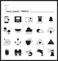 Travel element line icon set 5beach and sea vector
