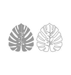 tropical leaf icon grey set vector image