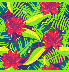 Tropical pattern with lotus 2 vector