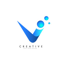 v letter logo design with 3d and ribbon effect vector image