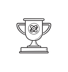 video game trophy cup hand drawn outline doodle vector image