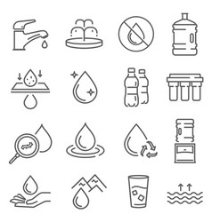 water use pollution recycling thin line icons vector image