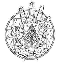 with hand palm and mystic symbols vector image