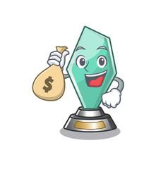 With money bag acrylic trophy cartoon shaped on vector