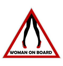 Woman on board driving sign vector