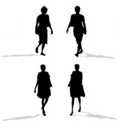 women walking silhouettes vector image