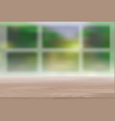 Wood table top on blur natural green background vector